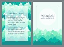 Montañas verdes en estilo geométrico Colección al aire libre de las tarjetas fotos de archivo libres de regalías