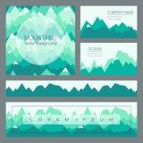 Montañas verdes en estilo geométrico Tarjetas al aire libre con el espacio para el texto imagen de archivo libre de regalías