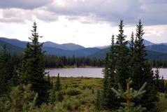 Montañas y árboles de hoja perenne Foto de archivo