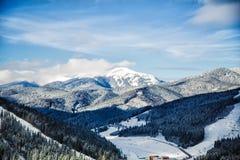 Montañas y bosques nevados, naturaleza Fotografía de archivo libre de regalías