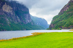 Montañas y fiordo lluviosos nublados en Noruega, Foto de archivo libre de regalías