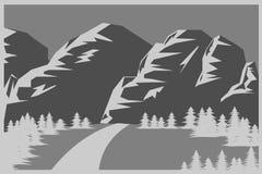 Montañas y fondo plano del bosque en tonos grises Imagen de archivo