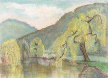Montañas y lago stock de ilustración