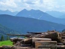 Montañas y una pila de madera fotografía de archivo libre de regalías