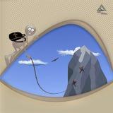 Montañeses y montañas stock de ilustración