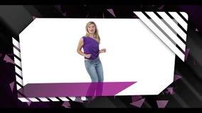 Montaż kobiety tanczy karaoke i śpiewa zbiory wideo
