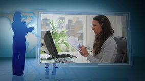 Montaż ludzie biznesu pracuje w ich biurze zbiory