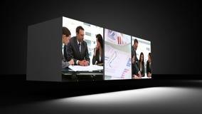 Montaż ludzie biznesu w biurze zbiory