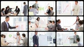 Montaż pokazuje biznesmenów robi prezentaci zbiory