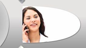 Montaż przedstawia ufnych ludzi biznesu przy pracą ilustracja wektor