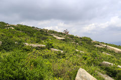Montaña bajo el cielo azul Fotografía de archivo libre de regalías