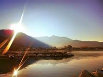 Montaña del sol del mar de Thassos Imagenes de archivo