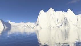 Montaña y agua de la nieve Imagen de archivo libre de regalías