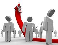 Montada acima da seta do crescimento - multidão Imagem de Stock