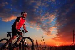 Montada do ciclista do Mountain bike exterior Fotos de Stock