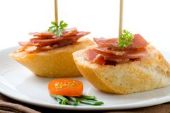 Montadito with serrano ham Royalty Free Stock Photos