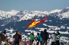 MONTAFON, ÖSTERREICH - 29. FEBRUAR: Skifahren-Unfall Lizenzfreie Stockfotografie