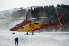 Rescue helicopter in Montafon skiing area Stock Images