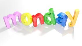 Montag buntes 3D schreiben - Wiedergabe 3D Lizenzfreies Stockfoto