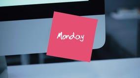montag Tage der Woche Die Aufschrift auf dem Aufkleber auf dem Monitor vektor abbildung