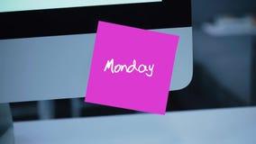 montag Tage der Woche Die Aufschrift auf dem Aufkleber auf dem Monitor stock abbildung