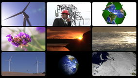 Montage που παρουσιάζει την έννοια της πράσινης τεχνολογίας διανυσματική απεικόνιση