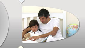 Montage που παρουσιάζει τον προσεκτικό πατέρα που έχει τη διασκέδαση με το παιδί του φιλμ μικρού μήκους