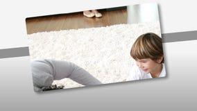 Montage που παρουσιάζει το φροντίζοντας πατέρα που έχει τη διασκέδαση με το παιδί του φιλμ μικρού μήκους