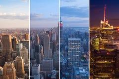 Montage της νύχτας οριζόντων του Μανχάταν στην ημέρα - Νέα Υόρκη - ΗΠΑ Στοκ εικόνες με δικαίωμα ελεύθερης χρήσης