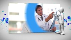 Montage του ευτυχούς ιατρικού προσωπικού απόθεμα βίντεο