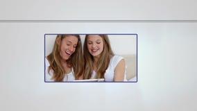 Montage των ανθρώπων που χρησιμοποιούν τις συσκευές μέσων απόθεμα βίντεο