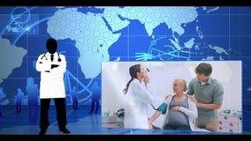 Montage των γιατρών με τους ασθενείς απόθεμα βίντεο
