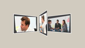 Montage των επιχειρηματιών που μιλούν για μερικά προγράμματα απόθεμα βίντεο