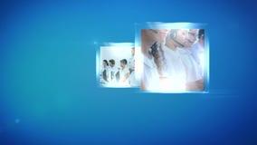 Montage των κεντρικών εργαζομένων κλήσης απόθεμα βίντεο