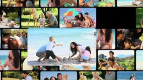 Montage των οικογενειών υπαίθρια απόθεμα βίντεο