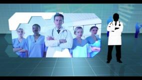 Montage των συνδετήρων νοσοκομείων απόθεμα βίντεο