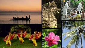Montage av olika gem med typisk sikter och musik av Bali, Indonesien Royaltyfri Bild