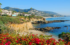The Montage and beaches in Laguna Beach, Californi. Situated on the bluffs overlooking the Pacific Ocean in South Laguna Beach, California is the spectacular stock photo