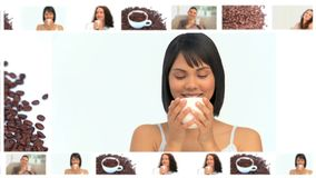 Montage of beautiful women enjoying cups of coffee Royalty Free Stock Photos