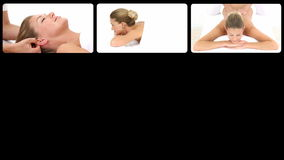 Montage of a blond woman relaxing in a spa center