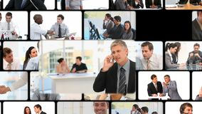 Montage of business people communicating stock video