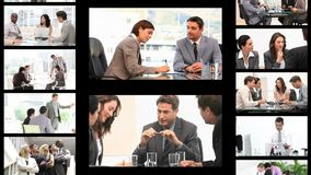 Montage of business people in different situations Stock Photos