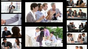 Montage of business people in different situations Royalty Free Stock Image