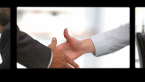 Montage of business people exchanging ideas Stock Images