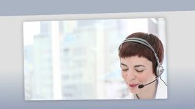 Montage of business people on the phone Stock Photo