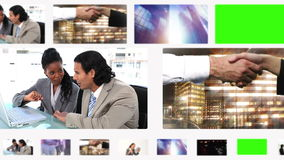 Montage of business people and situations with copy space Royalty Free Stock Image