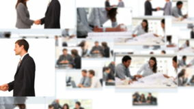 Montage of business people talking about projects stock video