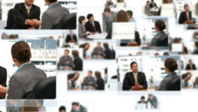 Montage of business people talking together