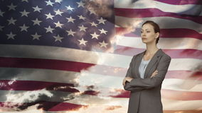 Montage of businesswoman crossing arms stock footage