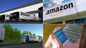 Montage collection of Amazon.com company related business activity. Editorial animation